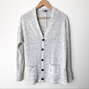 AEO White Knit Button Front Librarian Cardigan